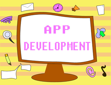 Text sign showing App Development. Conceptual photo Development services for awesome mobile and web experiences. Stock Photo - 107653368