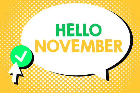 Conceptual hand writing showing Hello November. Business photo text Welcome the eleventh month of the year Month before December. Imagens