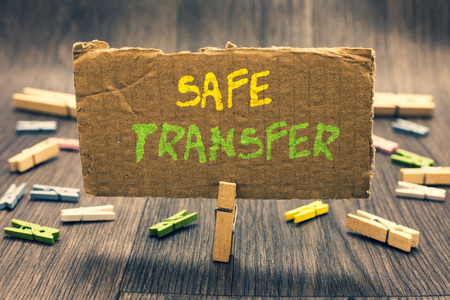 Writing note showing Safe Transfer. Business photo showcasing Wire Transfers electronically Not paper based Transaction Clothespin holding paperboard important communicating message ideas Stockfoto