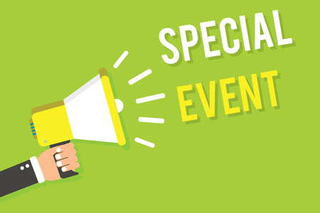 Conceptual hand writing showing Special Event. Business photo text Function to generate money for non profit a Crowded Occassion Man holding megaphone loudspeaker green background speaking loud