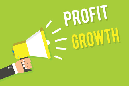 Conceptual hand writing showing Profit Growth. Business photo text Objectives Interrelation of Overall Sales Market Shares Man holding megaphone loudspeaker green background speaking loud Stock Photo