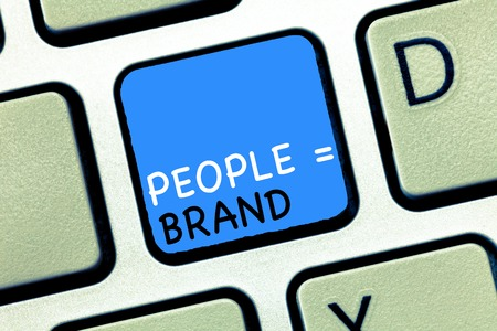 Writing note showing People equal Brand. Business photo showcasing Personal Branding Defining personality through the labels.