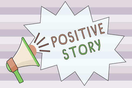 Text sign showing Positive Story. Conceptual photo Meaningful and motivating article Good News Success scoop. Stock Photo