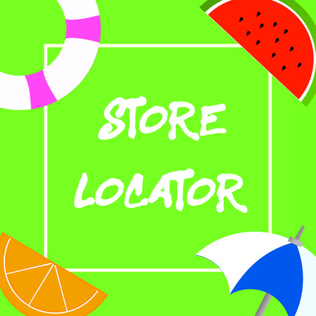 Text sign showing Store Locator. Conceptual photo to know the address contact number and operating hours.