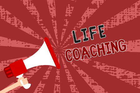 Word writing text Life Coaching. Business concept for Improve Lives by Challenges Encourages us in our Careers Man holding megaphone loudspeaker grunge red rays important messages Foto de archivo