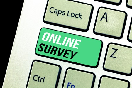 Conceptual hand writing showing Online Survey. Business photo text Reappraisal Feedback Poll Satisfaction Rate Testimony.