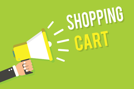 Conceptual hand writing showing Shopping Cart. Business photo text Case Trolley Carrying Groceries and Merchandise Man holding megaphone loudspeaker green background speaking loud Stock Photo