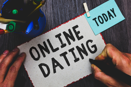 Conceptual hand writing showing Online Dating. Business photo text Searching Matching Relationships eDating Video Chatting Man holding marker paper clothespin reminder cup marker wood table