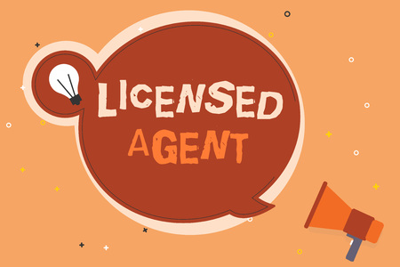 Conceptual hand writing showing Licensed Agent. Business photo showcasing Authorized and Accredited seller of insurance policies.