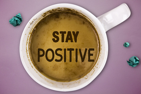 Writing note showing Stay Positive. Business photo showcasing Engage in Uplifting Thoughts Be Optimistic and Real. Stok Fotoğraf
