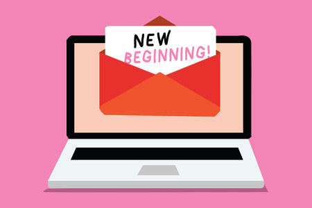 Writing note showing New Beginning. Business photo showcasing Different Career or endeavor Starting again Startup Renew Computer receiving email important message envelope with paper virtual