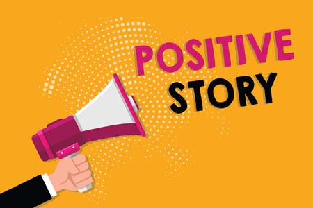 Word writing text Positive Story. Business concept for Meaningful and motivating article Good News Success scoop.