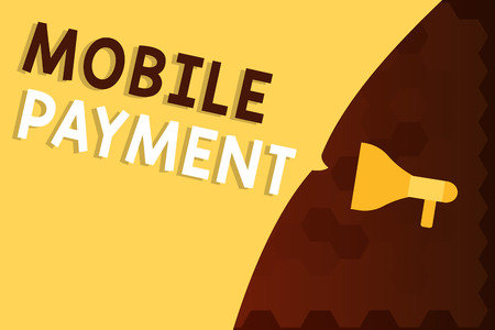 Text sign showing Mobile Payment. Conceptual photo Cashless Payment made through portable electronic devices.