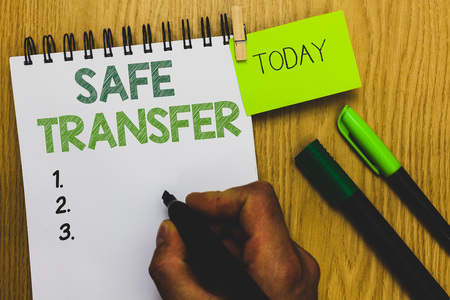 Word writing text Safe Transfer. Business concept for Wire Transfers electronically Not paper based Transaction Man holding marker notebook clothespin reminder wooden table cup coffee Banque d'images