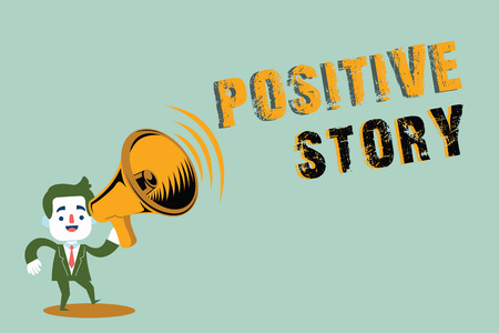 Handwriting text writing Positive Story. Concept meaning Meaningful and motivating article Good News Success scoop.