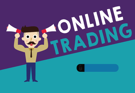 Writing note showing Online Trading. Business photo showcasing Buying and selling assets via a brokerage internet platform.