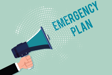 Handwriting text writing Emergency Plan. Concept meaning Procedures for response to major emergencies Be prepared.