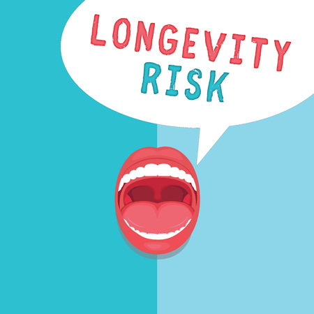 Word writing text Longevity Risk. Business concept for Potential threat due to increasing lifespan of pensioners.