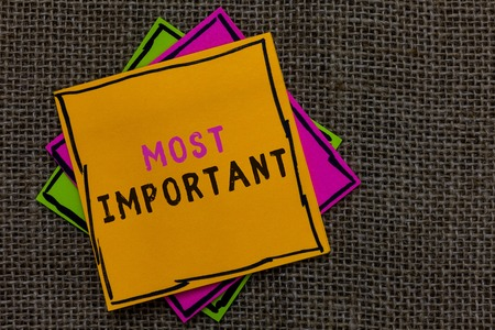 Text sign showing Most Important. Conceptual photo Greatest or highest degree quantity or the like Significant Paper notes Important reminders Communicate ideas messages Jute background
