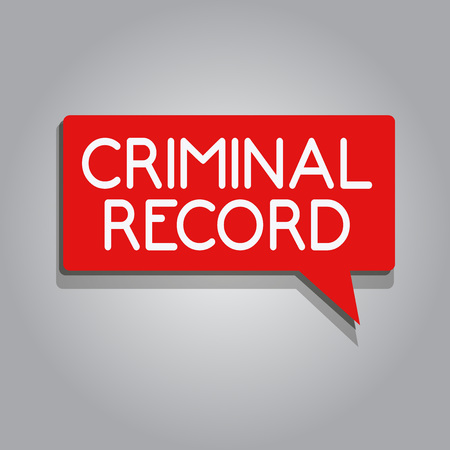 Writing note showing Criminal Record. Business photo showcasing profile of a person criminal history with details. Stock Photo