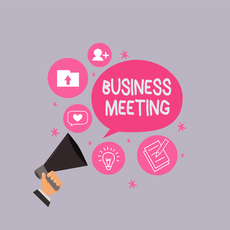 Word writing text Business Meeting. Business concept for used discuss issues that cannot be addressed in simple way. Stock Photo