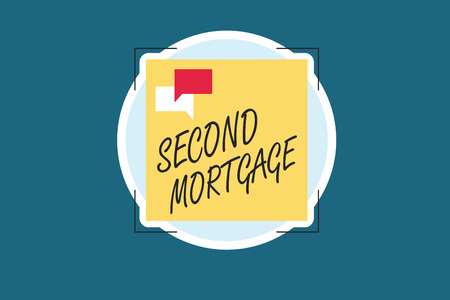 Word writing text Second Mortgage. Business concept for lien on property which is subordinate to more senior one. Stock Photo