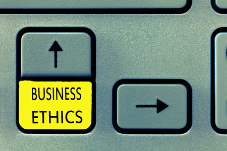 Writing note showing Business Ethics. Business photo showcasing Moral principles that guide the way a business behaves. Stock Photo
