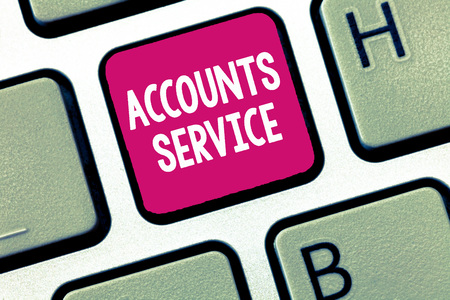 Conceptual hand writing showing Accounts Service. Business photo showcasing accessing list of user profiles and information linked.
