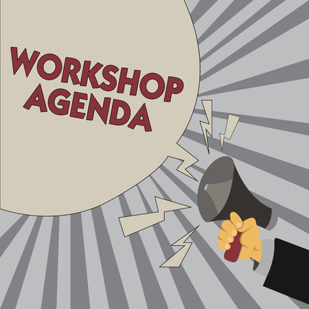 Writing note showing Workshop Agenda. Business photo showcasing helps you to ensure that your place stays on schedule. Reklamní fotografie