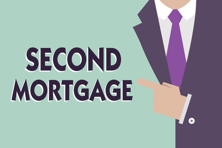 Text sign showing Second Mortgage. Conceptual photo lien on property which is subordinate to more senior one. Stock Photo