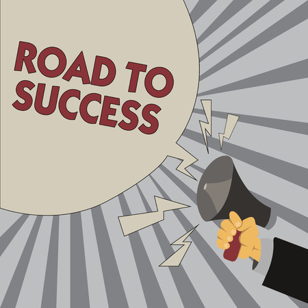 Writing note showing Road To Success. Business photo showcasing studying really hard Improve yourself to reach dreams wishes.