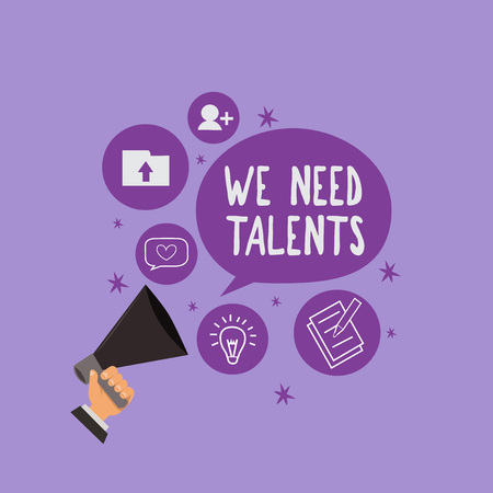 Handwriting text We Need Talents. Concept meaning new recruitment Making interviews Choose creative people. Stok Fotoğraf
