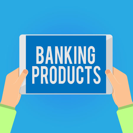 Writing note showing Banking Products. Business photo showcasing safe and convenient way or service to accumulate savings. 스톡 콘텐츠
