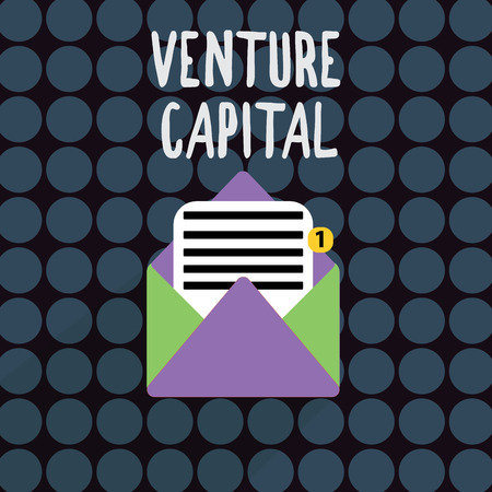 Text sign showing Venture Capital. Conceptual photo financing provided by firms to small early stage ones. Stock Photo