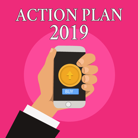 Handwriting text writing Action Plan 2019. Concept meaning to do list contain number of things be done next year. Stock Photo
