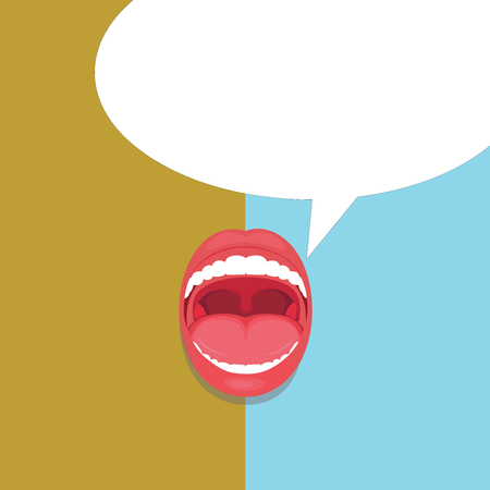 Flat design business Vector Illustration concept Empty copy space modern abstract background Geometric element. Open Mouth Expressive Surprise Gaping Red Lips Teeth Blank Speech Bubble Çizim