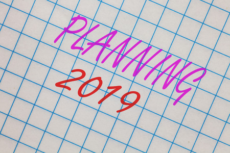 Word writing text Planning 2019. Business concept for Begin with end in the Mind Positioning Long term Objectives Notebook squared page scholar background space communicate ideas messages