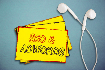 Word writing text Seo and Adwords. Business concept for Pay per click Digital marketing