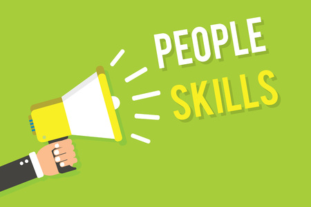 Conceptual hand writing showing People Skills. Business photo text Get Along well Effective Communication Rapport Approachable Man holding megaphone loudspeaker green background speaking loud