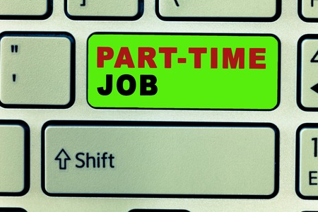 Text sign showing Part Time Job. Conceptual photo Weekender Freelance Casual OJT Neophyte Stint Seasonal. 写真素材