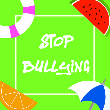Text sign showing Stop Bullying. Conceptual photo Fight and Eliminate this Aggressive Unacceptable Behavior. Stock Photo