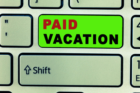 Text sign showing Paid Vacation. Conceptual photo Sabbatical Weekend Off Holiday Time Off Benefits. Foto de archivo