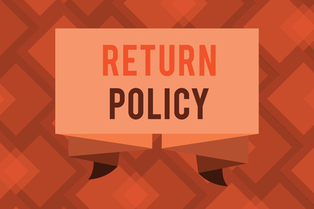 Conceptual hand writing showing Return Policy. Business photo text Tax Reimbursement Retail Terms and Conditions on Purchase.