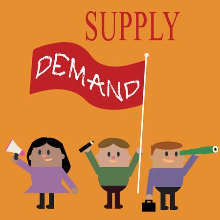 Escritura a mano conceptual que muestra la oferta y la demanda. Foto texto de negocios Relación entre las cantidades disponibles y deseadas.