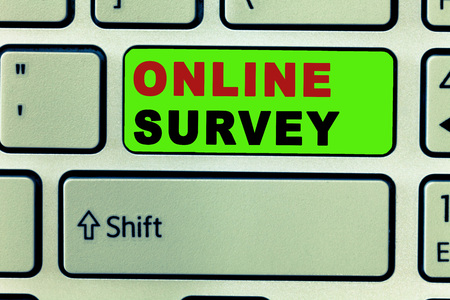 Text sign showing Online Survey. Conceptual photo Reappraisal Feedback Poll Satisfaction Rate Testimony.