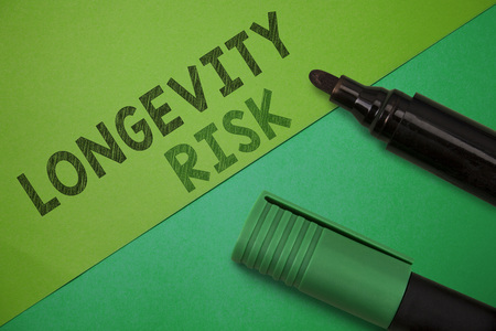 Conceptual hand writing showing Longevity Risk. Business photo showcasing Potential threat due to increasing lifespan of pensioners. Stock Photo