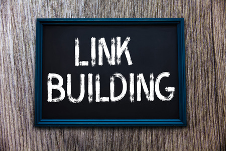 Handwriting text Link Building. Concept meaning SEO Term Exchange Links Acquire Hyperlinks Indexed. Stock Photo