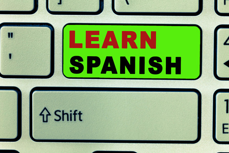 Text sign showing Learn Spanish. Conceptual photo Translation Language in Spain Vocabulary Dialect Speech. Stok Fotoğraf - 107741281