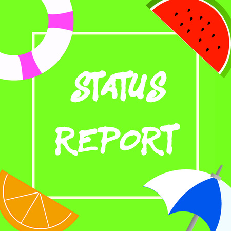 Text sign showing Status Report. Conceptual photo Update Summary of situations as of a period of time. Stock Photo