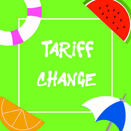 Text sign showing Tariff Change. Conceptual photo Amendment of Import Export taxes for goods and services.